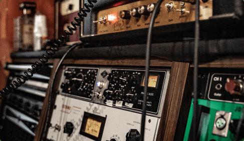 vintage gear in the studio